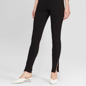 High waisted ponte skinny pants ankle & side zip